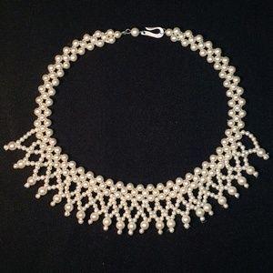 Jewelry - Vintage Dangling Faux Pearl Choker w/ Hook Clasp